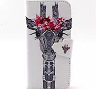 Giraffen-Muster PU-Leder-Telefonkasten für iphone 5/5 s