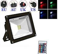 schwarz wasserdicht 10w kalt / warmes Weiß RGB-Licht mit Fernbedienung LED Flut-Lampe + Stecker (AC85V-265V)