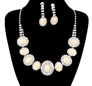 Fashion Long Drop Fully Rhinestone Silver Copper Jewelry Set 20