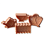 4PCS Teapot&Clock Pattern Cake and Cookie Cutter Mold