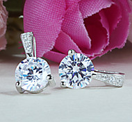 2015 Newst 925 Sterling Silver  Earrings Sterling Silver  Simple Sparkling with Diamonds