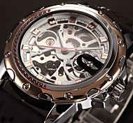 Men's Auto-Mechanical Skeleton Watch Gold Case Silicone Band Wrist Watch Cool Watch Unique Watch