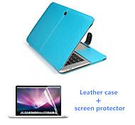 """ímã da aleta de couro de luxo quente venda caso de corpo inteiro e protetor de tela hd para MacBook Pro 13,3 """"(cores sortidas)"""