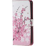 Teste padrão de flores cor de rosa pu couro caso difícil com suporte para samsung nota galáxia 5 / nota 5 edge / nota 4 / nota 3 / nota 2
