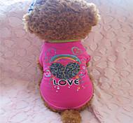 Perros Camiseta Rosa Verano Corazones