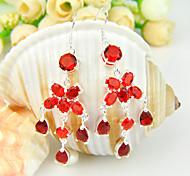 luckyshine amigo don fuego gema de cuarzo rojo 0,925 plata pendientes flor caída de 1pairs alquileres diarios banquete de boda