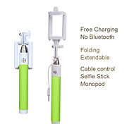 Beittal® Cable Control Monopod Folding Extendable Selfie Stick with Adjustable Phone Mount Holder for iOS and Android