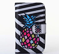 Black and White Pineapple Pattern PU Leather Full Body Case with Stand for Alcatel One Touch POP C3