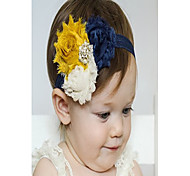 Baby Headband, Navy Mustard Yellow Shabby Headband, Shabby Chic Headband Baby Girl Headband, Toddler Headband