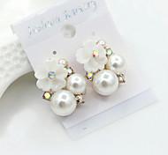 Ohrstecker Kristall Perle Künstliche Perle Strass vergoldet 18K Gold Imitation Diamant Modisch Gold Schmuck 2 Stück