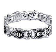 L:22CM W:1.6CM Fashion Stainless Steel 316L Silver Tone Skull Skeleton Men Cool Link Bracelet