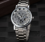 Men's Dress Watch Elegant Hollow Design Quartz Silver Steel Strap