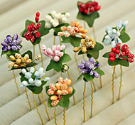 China Style Wedding Bride Fruit Pulp Color Bride Headdress Flower  Resin/Platinum Plated U Type Hair Sticks Wedding