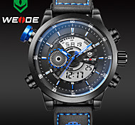 WEIDE Men Fashion Black Analog Digital Sport Watch Leather Strap Stopwatch/Alarm Backlight/Waterproof