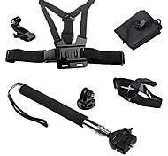 6-em-1sports kit de acessórios para câmeras para GoPro Hero 4/3/3 + / sj4000 / sj5000 / sjcam / xiaoyi - preto