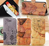 World Map Pattern Leather Case with Holder and Card Slots, Random Delivery for iPhone5S