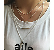 Fashion Multilayer Beads Feather Loops Clavicle Necklace