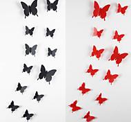 12шт 3d наклейки бабочки стены искусства наклейки