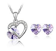 Women Elegant European Style Crystal Heart Necklace Earrings Set