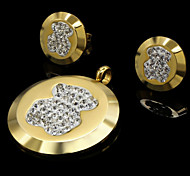 Fashion Gold Silver Stainless Steel Round CZ Crystal Bear Pendant Earring Jewelry Set(1Set)