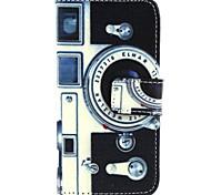 Retro-Kamera-Muster PU Ledertasche mit Magnetverschluss und Einbauschlitz für iPhone 5/5 s