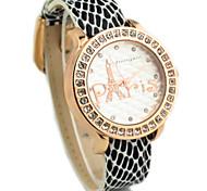Women's Diamante Round Eiffel Tower Dial PU Band Quartz Analog Casual Watch