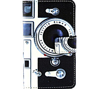 Retro Camera Pattern PU Leather Painted Phone Case For Nokia N435