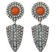 Vintage Style Long Hanging Stud Stone Earrings