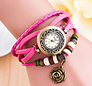 Women's Round Dial Faux Leather Hand Woven Band Quartz Analog Fashion Watch(Assorted Color)