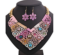 Fashion Flower Color Printing Alloy Necklace (Includes Necklace & Earrings) Jewelry Set(Pink,Blue)