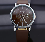 WoMaGe Quartz Watch with Strips Indicate Leather Watch Band for Women- Dark Brown