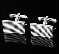 Men's Parallel Stripes Silver Tone Wedding Suit Shirt Men's Cufflinks