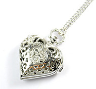 Fashion Heart-Shaped Hollow Silver Pocket Watch(Silver)(1Pc)