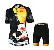ARSUXEO Women's Short Sleeve Cycling Jerseys Suits (Life is Beautiful)