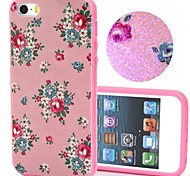 2-in-1 Bling Bling Pink Flowers Pattern PC Back Cover with PC Bumper Shockproof Hard Case for iPhone 5G/5S