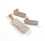 Fashion Oblong Full CZ Diamonds Inlaid 316L Stainless Steel Gold Plated (Necklace&Earrings) Jewelry Sets
