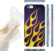Yellow Fire Pattern TPU Soft Back Case for iPhone 6/6S