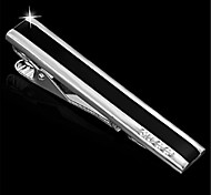 Men's Enamel Blk Silver Wedding Suit Shirt Silver Tie Bar Clip Clasp