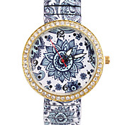 Woman's Watches New Blue And White Porcelain Elastic Watch