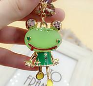 Cute Imitation Pearls Rhinestone Frog Keychain(Random Color)