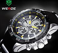 WEIDE Men Sporty Analog Digital Watch Rubber Strap Stopwatch/Alarm Backlight/Waterproof Cool Watch Unique Watch