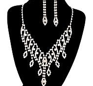 moda larga caída plenamente rhinestone joyería de cobre de plata fijó 14