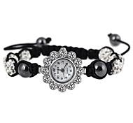 Fashion 25mm Flower Shape Quartz Metal Set Auger Drill Ball Hand Woven Bracelet Watch(Black)(1Pc)
