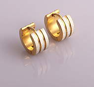 Fashion New   Three Outside Wire Drawing  Inside Double  Gold Ditch  Hoop Earrings Wedding/Party/Daily/Casual 2pcs