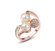Z&X® Rose Gold Pearl/Zircon Statement Rings Party/Daily
