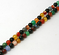 Beadia 38Cm/Str (Approx 95PCS) Natural Agate Beads 4mm Round Mixed Color Stone Loose Beads DIY Accessories