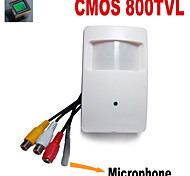 800TVL COLOR CMOS Mini Hidden Camera PIR CCTV Security Camera with 3.7mm Pinhole Lens Audio External Microphone