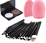 Pro 20pcs Brushes Set Foundation Eyeshadow Eyeliner Lip Brush Tool+15Colors Powder Palette+1PCS Brush Cleaning Tool