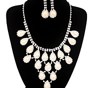 Fashion Long Drop Fully Rhinestone Silver Copper Jewelry Set 16