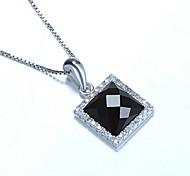 Sterling Silber Anhänger Halskette Sterling Silber Schmuck Großhandel Sterne mit einem quadratischen schwarzen Onyx Sterling Silber